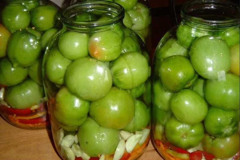 Рецепт засолки зеленых помидор на зиму в банках горячим способом
